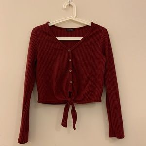 wine red front knot long sleeve thermal top